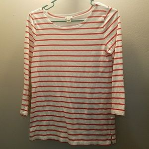 J Crew Red Striped Long Sleeved Tee